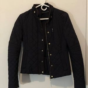 Zara Navy Blue Quilted Jacket